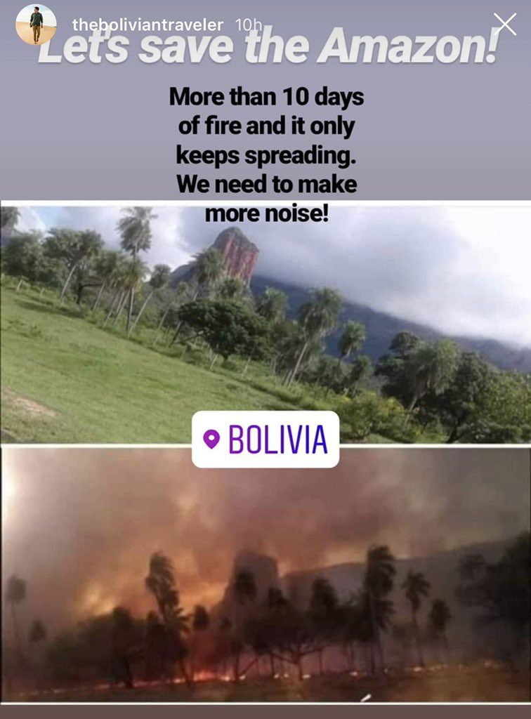 @justinbaldoni Bolivian side is burning too and the President hasn't still declared it an emergency.