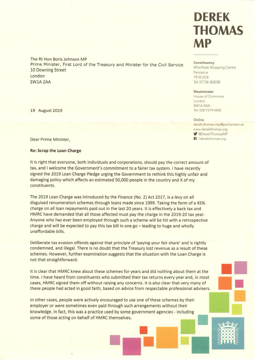 Ive written to the new Prime Minister @BorisJohnson Chancellor of the Exchequer @sajidjavid asking they take urgent action to rethink the highly unfair & harmful #LoanCharge @LCAG_2019 @loancharge APPG affecting 50,000 people in UK