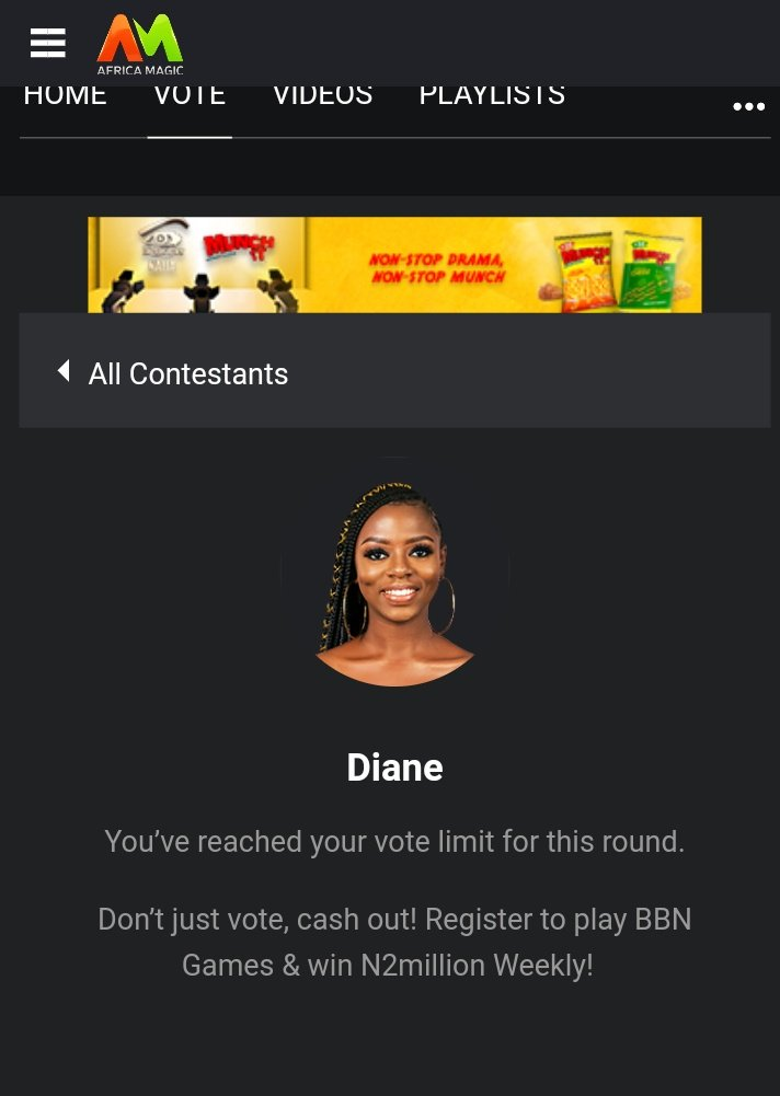 Vote for Diane, share proof in comment section include your location! I will pick at random people in my location or places in my initenary for the rest of the year and we will have lunch Come on! Please realtime vote not old vote!  #TeamDiane #bbnaija<br>http://pic.twitter.com/HMpDYwoJ1j