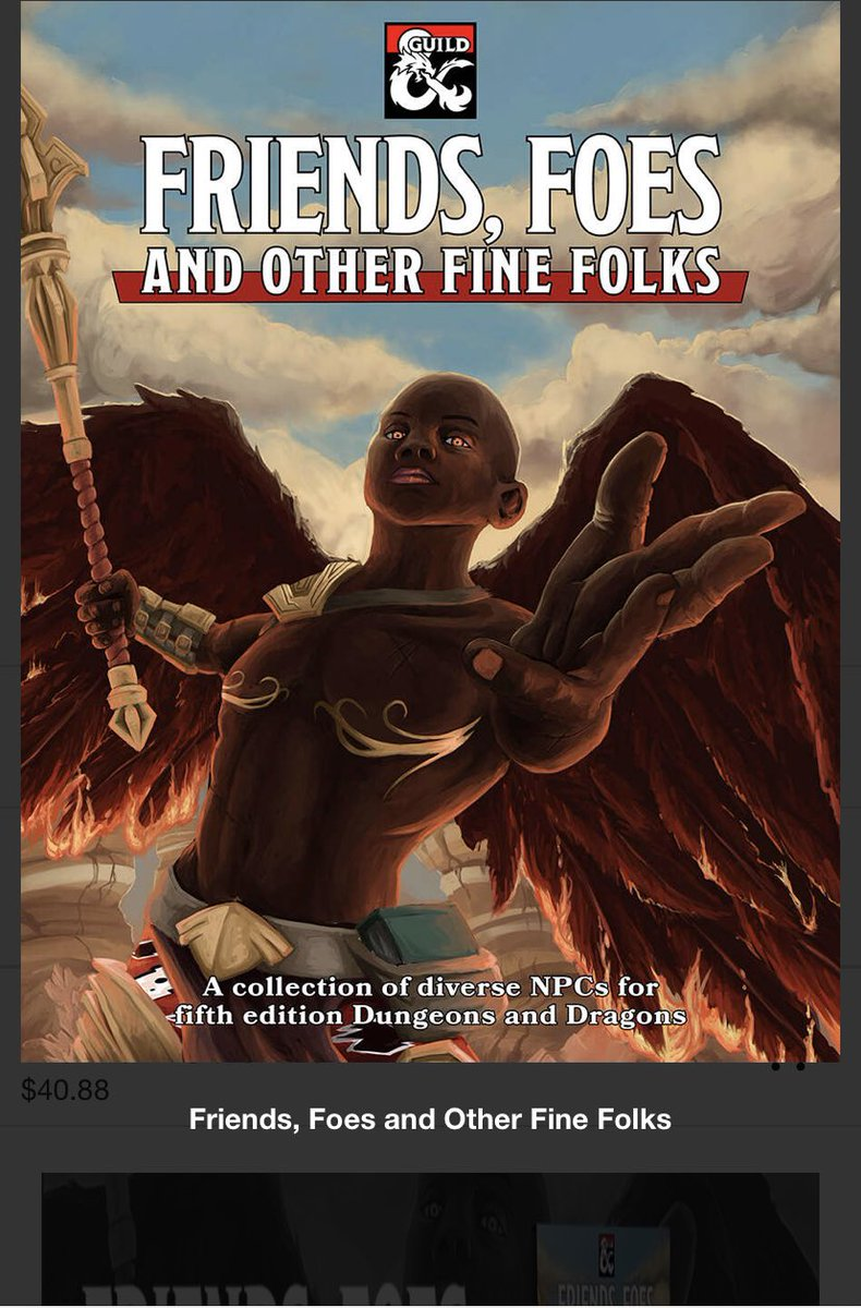 Ok. These are two of the best #dnd resources I have purchased.  The amount of inspiration contained in each of these books is mind blowing. Do yourself a favor and get them.   https://www. dmsguild.com/product/283802 /Friends-Foes-and-Other-Fine-Folks   …    https://www. dmsguild.com/m/product/2849 97   … <br>http://pic.twitter.com/RBYORLKcJ9