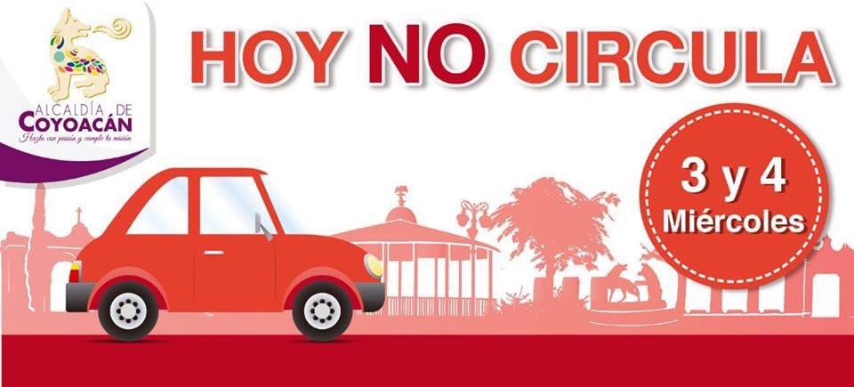 Este miércoles aplica el programa #HoyNoCircula en autos con engomado #Rojo terminación 3 y 4 holograma 1 y 2.
