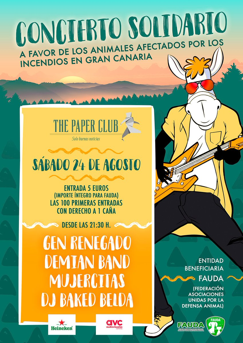 S24 AGOSTO   CONCIERTO BENÉFICO A FAVOR DE FAUDA (FEDERACIÓN DE ASOCIACIONES UNIDAS POR LA DEFENSA ANIMAL)   THE PAPER CLUB   21:30 HORAS   MUJERCITAS + DEMIAN BAND + GEN RENEGADO + BAKED BELDA  #fauda #thepaperclub #genrenegado #mujercitas #demianband #IFGranCanaria #bakedbeldapic.twitter.com/Dgr9GOxQPH