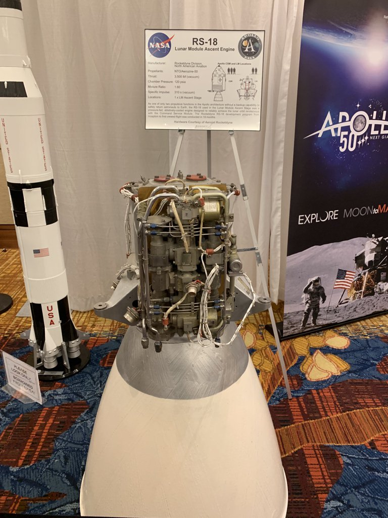 More Apollo hardware on display in the Exhibition Hall (towards the back, on the left). RS-18 from @AerojetRdyne only took 18 months to develop after the original contractor (Bell) ran into issues. Also known as the Lunar Module Ascent Engine #Apollo50th  #AiaaPropEnergy<br>http://pic.twitter.com/8r2jmYtv2F