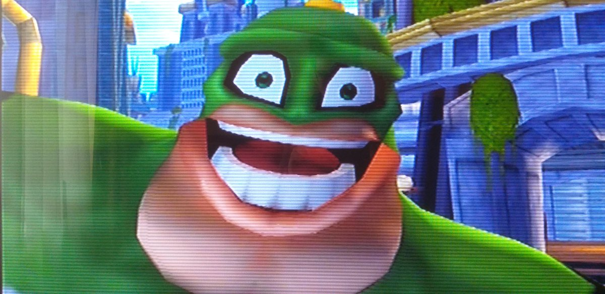 My Ratchet and Clank game froze as I was playing, and -this- was the face it froze on