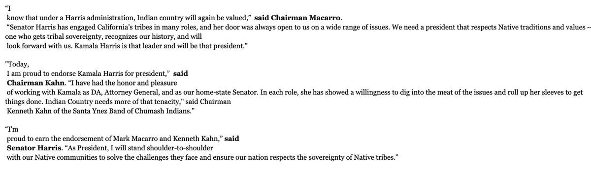 "New! @KamalaHarris snags endorsements of two major CA tribal leaders: Chairman Mark Macarro of Pechanga Band of Luiseno Indians, & Kenneth Kahn of Santa Ynez Band of Chumash Indians. Macarro: ""I  know that under a Harris administration, Indian country will again be valued."" More: <br>http://pic.twitter.com/tBtxENYTgD"