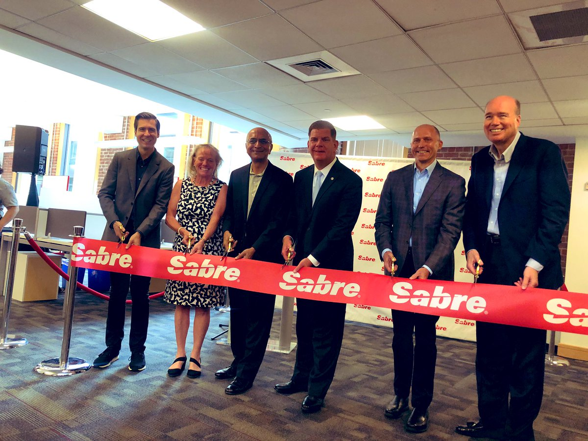 Welcome to Boston @Sabre_Corp! We're honored to be the home to your newest office and #innovation lab. Thank you for playing such a large role in helping people all over the world connect with one another. Keep thinking big. #talent #workforce #leadership ✈️