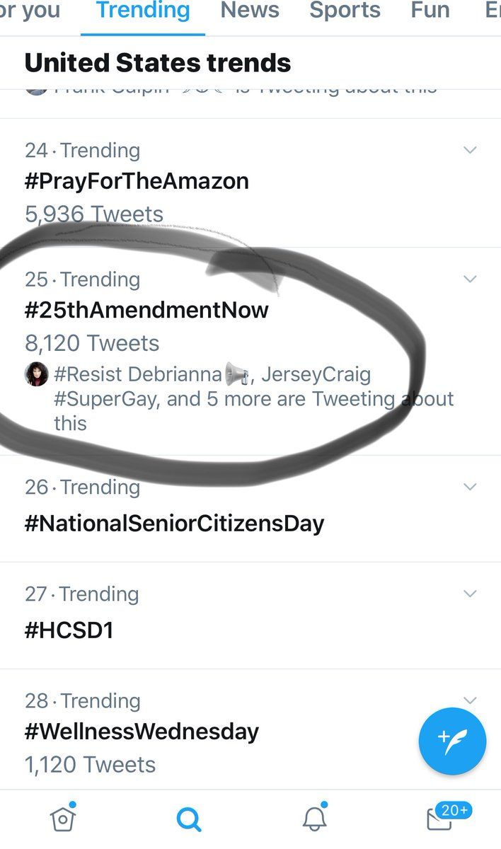 """You guys are amazing.  In about half an hour, you got #25thAmendmentNow trending at #25.  Keep going!! Tell @vp to use the #25thAmendmentNow on the """"King of Israel"""".  #WednesdayWisdom<br>http://pic.twitter.com/T5KHzZtHpL"""