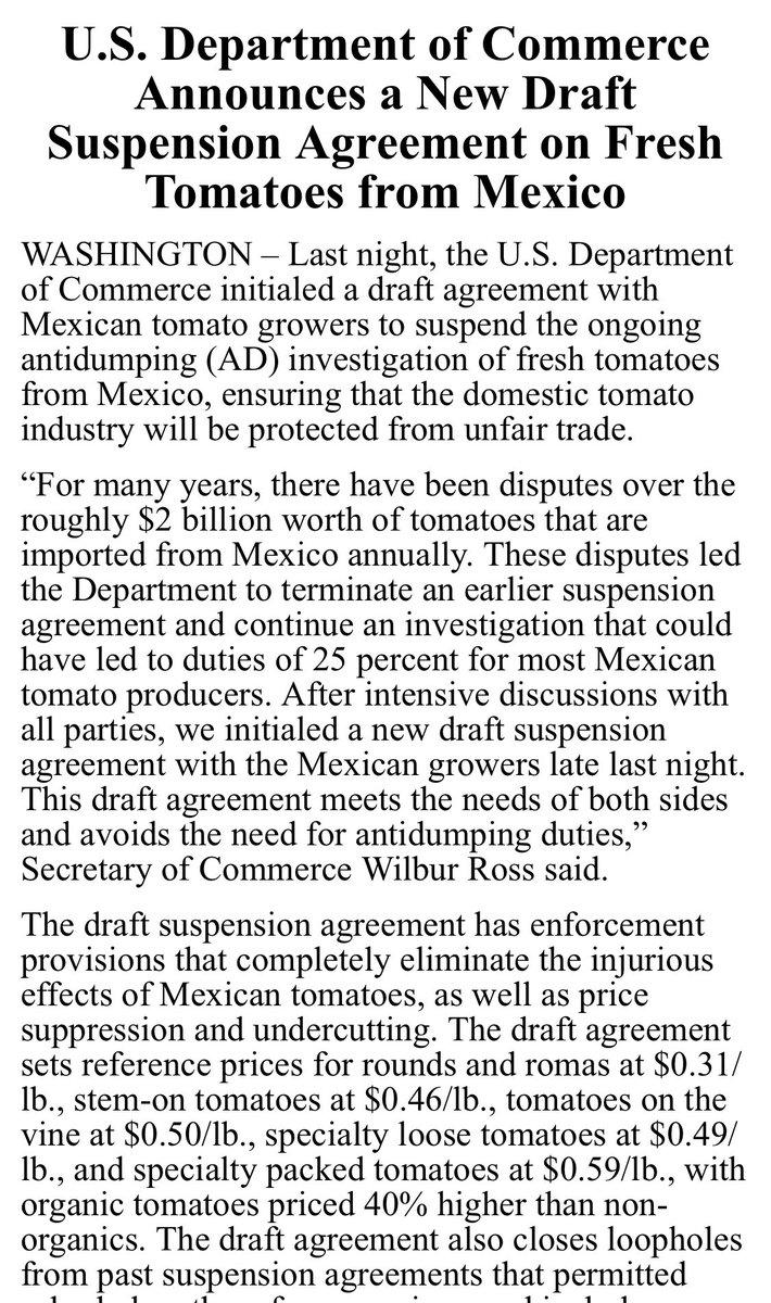 Comunicado del Depto de Comercio de EUA sobre el acuerdo con tomateros mexicanos. #Tomate