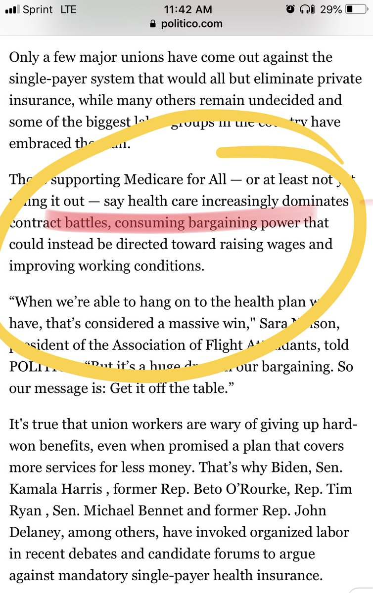 So if these presidential candidates are arguing that unions will lose bargaining chips and if the owners also use healthcare to beat down labor, aren't they coming from the same place? Who's funding their campaign?