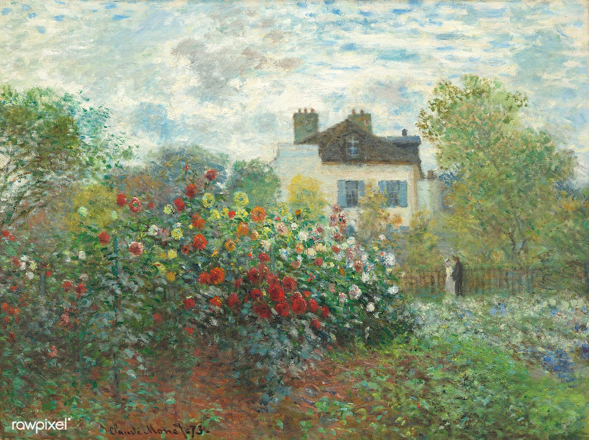 The Artist's Garden in Argenteuil, A Corner of the Garden with Dahlias (1873) by Claude Monet. Original from the National Gallery of Art. Digitally enhanced by rawpixel. Download this image: https://t.co/NEIFFyfsb3 https://t.co/2cbk1Ktbc5