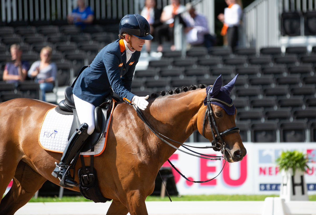 Rixt Van Der Horst has finished second with her first ride at the European Championship. She rode Findsley N.O.P. in grade 3 to 74.706%.#feieuros2019 #ecrotterdam2019 #jumping #dressage #paradressage #springen #dressuur #paradressuur #rotterdam #paardensport #equestrian #social https://t.co/9b0MdpPuap