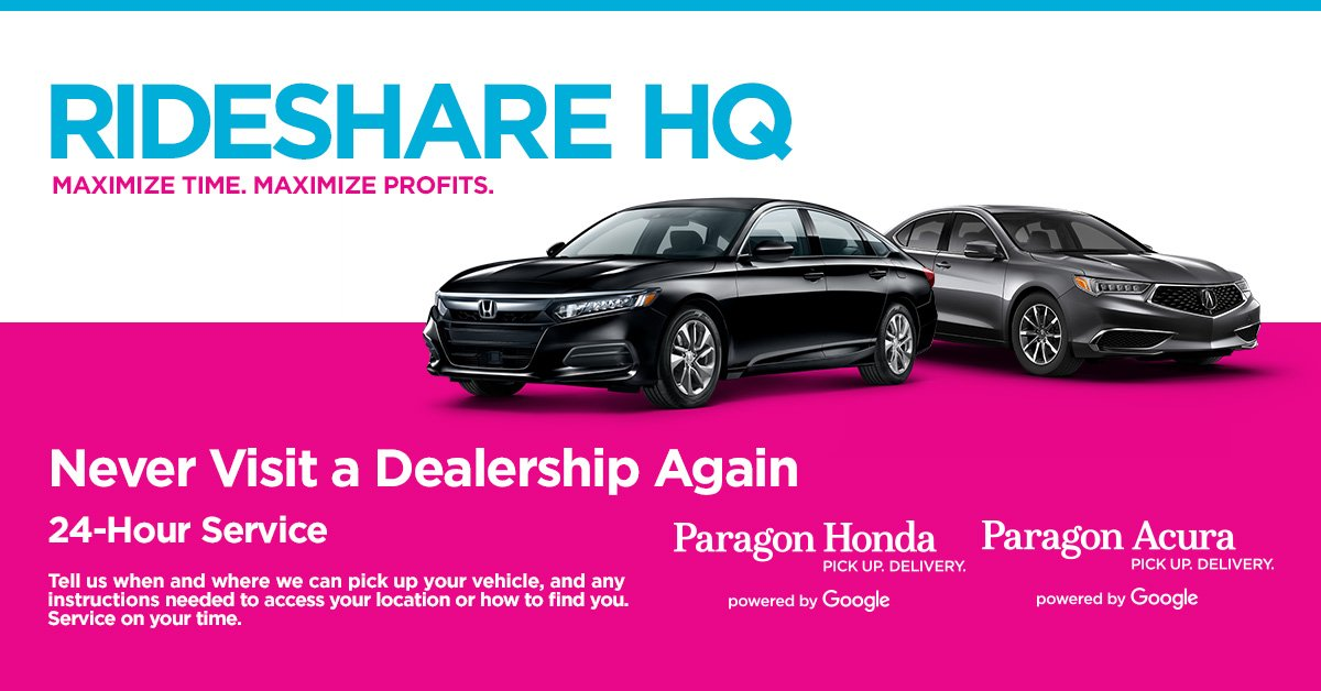 Save money! Your time is valuable, dont waste your day sitting in the dealership! Let us pick up your car and service it overnight! At Paragon Acura, we make life #easier! paragonrideshare.com