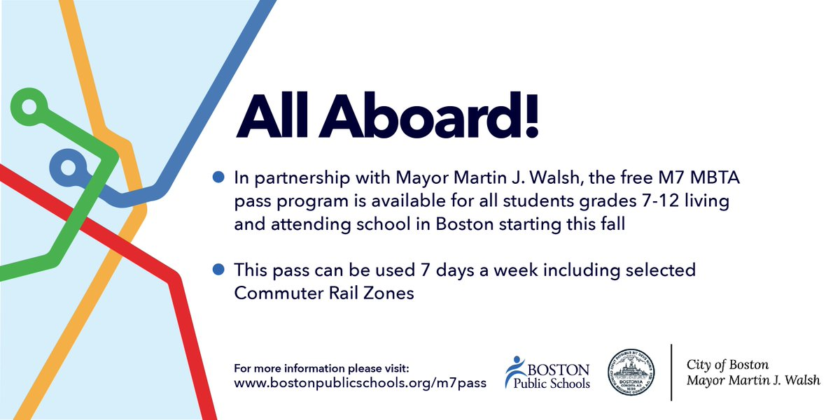 All @CityOfBoston students in grades 7-12 are eligible to receive a free M7 @MBTA pass this fall, expanding access to museums, internships, jobs & other learning opportunities for youth throughout the city. More: bostonpublicschools.org/m7pass @BostonSchools @marty_walsh #LookToBoston