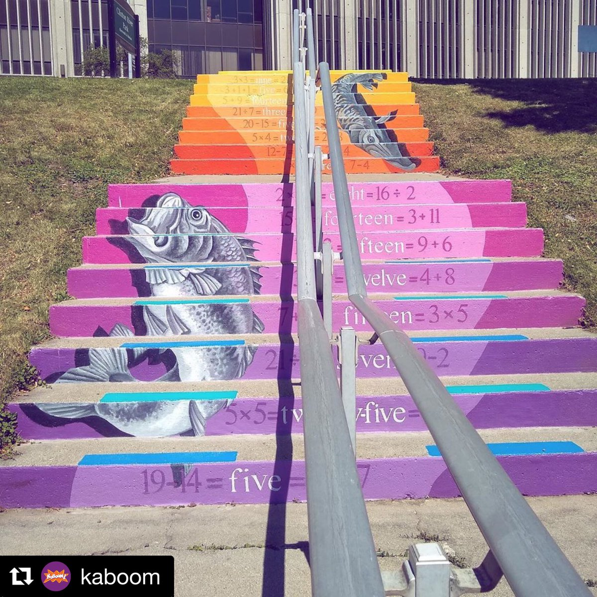 Find the magic in everyday spaces!📍Mount Clemens, Macomb County, MI #PlayEverywhere #TransformationTuesday #mountclemens #publicart #publicmural Photo by @kaboom Art by @WendyPopko
