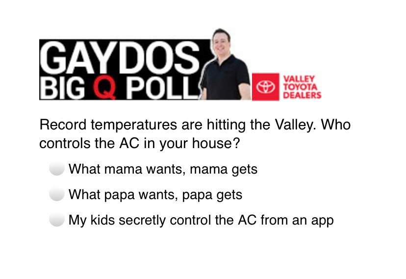 Todays Gaydos Big Q Poll Question of the day presented by your Valley Toyota Dealers is... https://t.co/8GV0nWnsv2