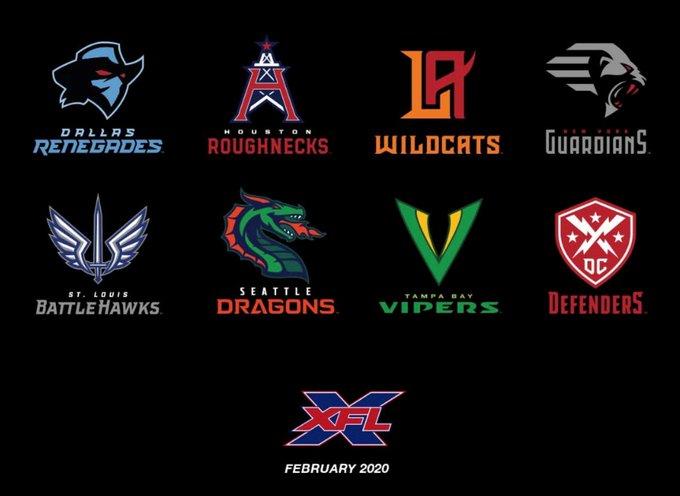 XFL Unveils Team Names, Logos for League's 2020 Season