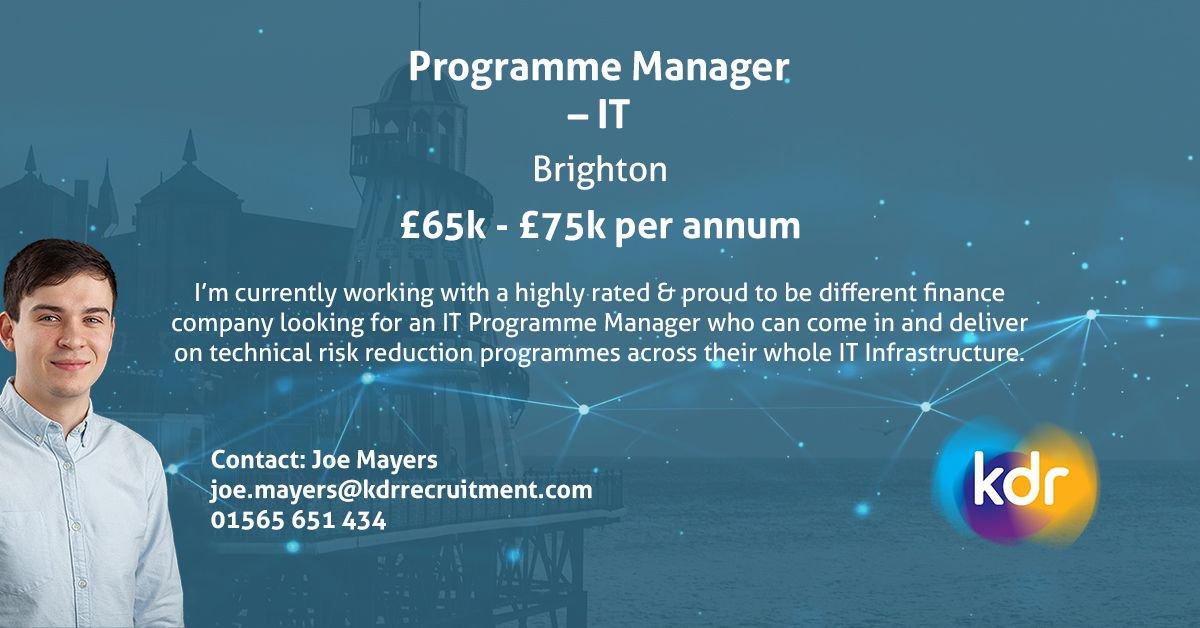 Programme Manager | Brighton | £65k - £75k