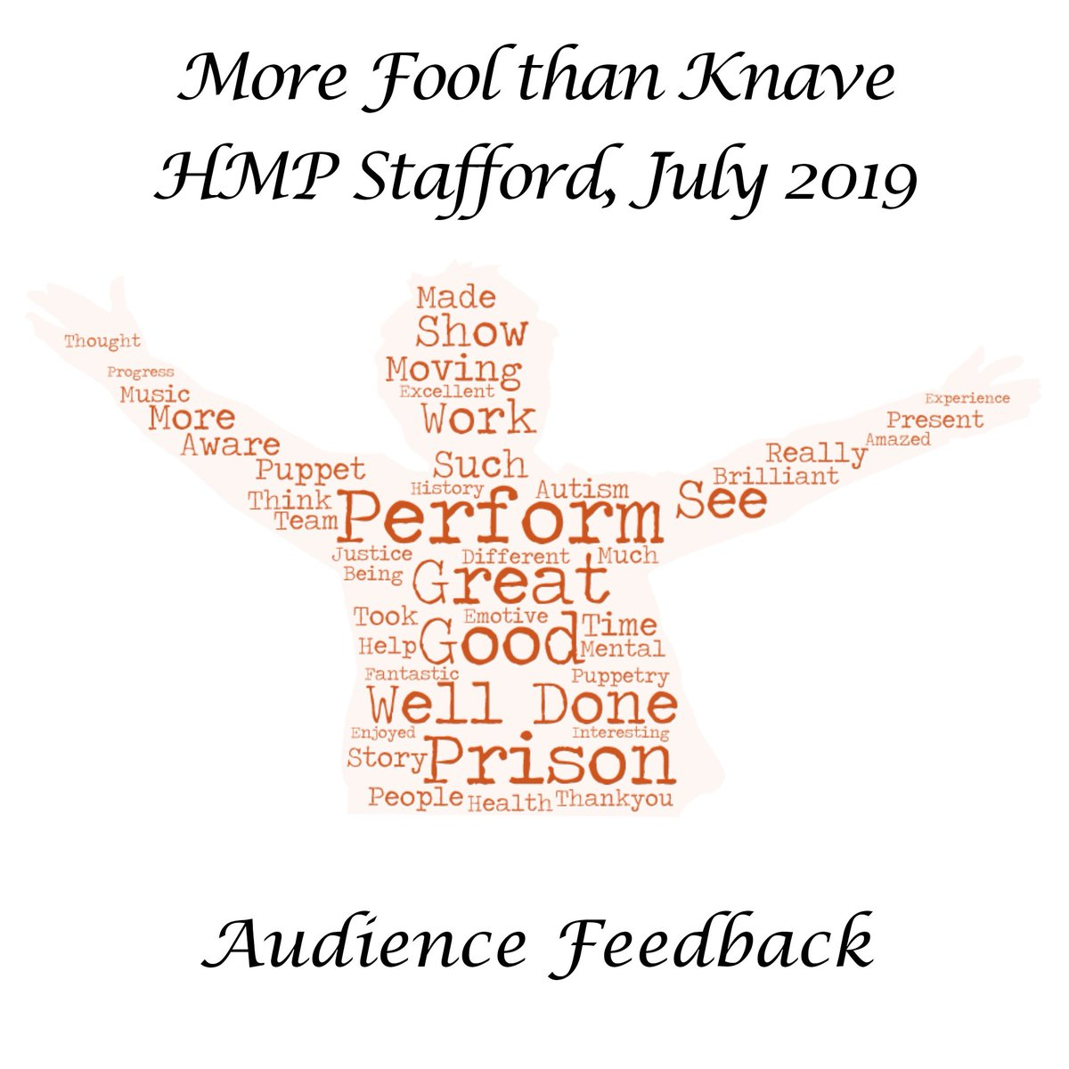 Audience feedback from More Fool than Knave, HMP Stafford, July 2019.