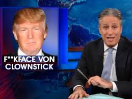"""We thought it was a parody account. But Trump kept going with it, tweeting, 'Why run from who you are?' So that's when we decided to go back at him, saying Trump's real name was Fuckface Von Clownstick."" #JonStewart @TDSTheBook http://bit.ly/tdstbtp   @TheDailyShow pic.twitter.com/KKKA4DAngo"