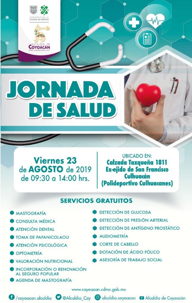 Te invitamos a que asistas a la #JornadaDeSalud con servicios gratuitos de mastografía, consulta médica, nutrición, detección de glucosa y muchos servicios más.👩🏽⚕️⚕️👨🏽⚕️📍 Polideportivo Culhuacanes🗓️ Viernes 23 de agosto🕓 De 9:30 a 14:00 hrs.
