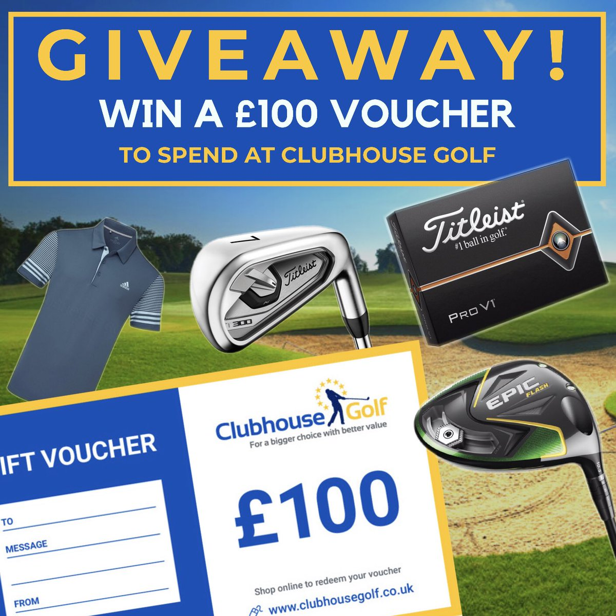 WIN a £100 VOUCHER to spend at Clubhouse Golf! 🙌🏽 We are giving away a FREE £100 voucher to spend online at clubhousegolf.co.uk 👉🏼 For your chance to win, simply 1. FOLLOW 👉🏼 @ClubhouseGolf 2. RETWEET this post Competition end Sunday 1st September at 10pm (GMT). T&Capply