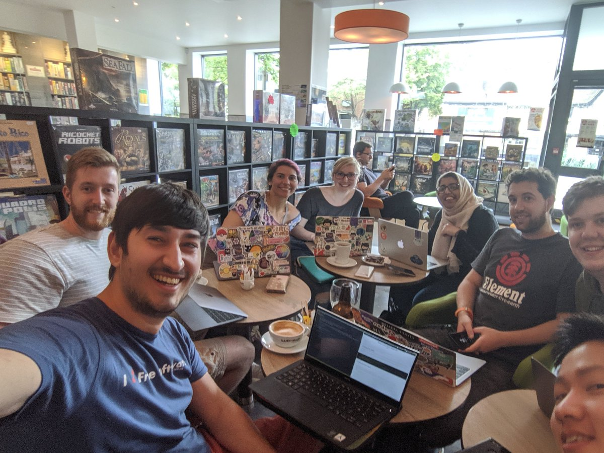 Jamie and seven other participants inside a cafe / boardgames store at the Nottingham Homebrew Website Club meetup!