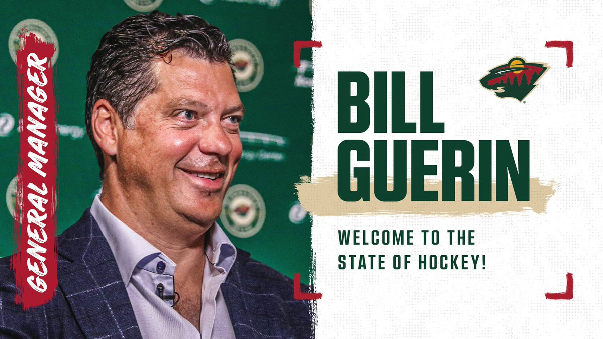 """""""I am thrilled to announce we have hired Bill Guerin, a four-time Stanley Cup champion, as General Manager of the Minnesota Wild. — Craig Leipold 📰 News → ow.ly/2ab550vEM3M #mnwild"""
