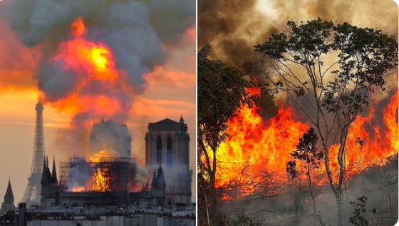 When Notre Dame was burning the world stopped. Billionaires and politicians emptied their pockets to help rebuild. Meanwhile the amazon has been burning for three weeks. The difference is, we don't get to build a new earth. When it's gone, it's gone. #PrayforAmazonas