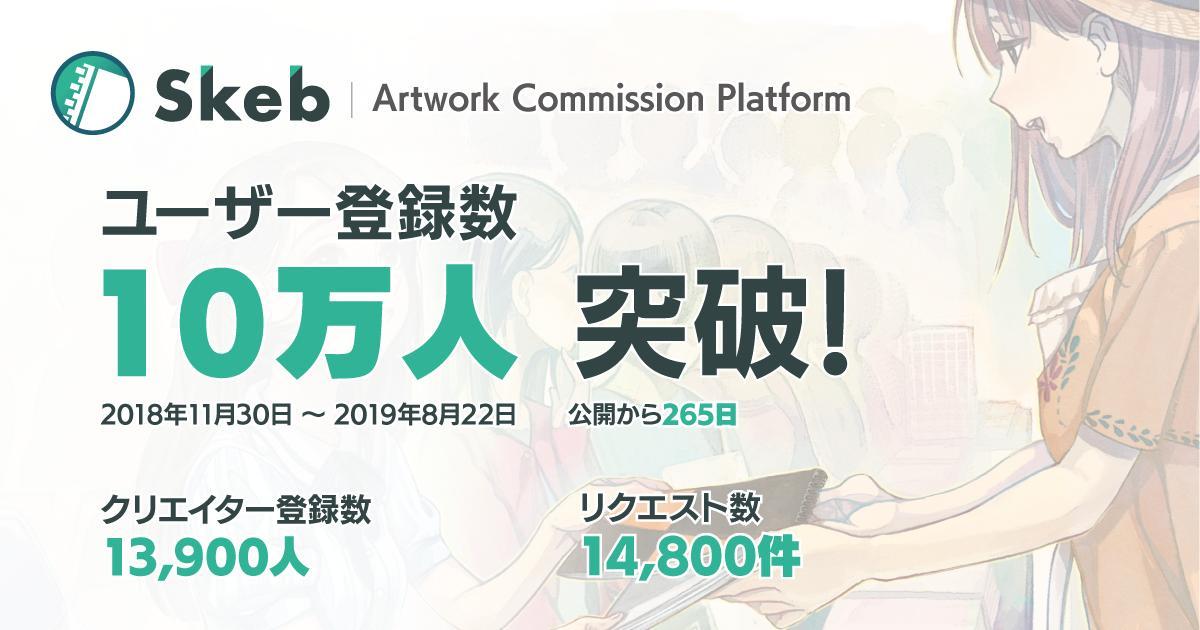 イラストコミッションサービス「Skeb」のユーザー登録数が10万人突破! 9月よりvtuber向けボイス販売機能も提供開始。