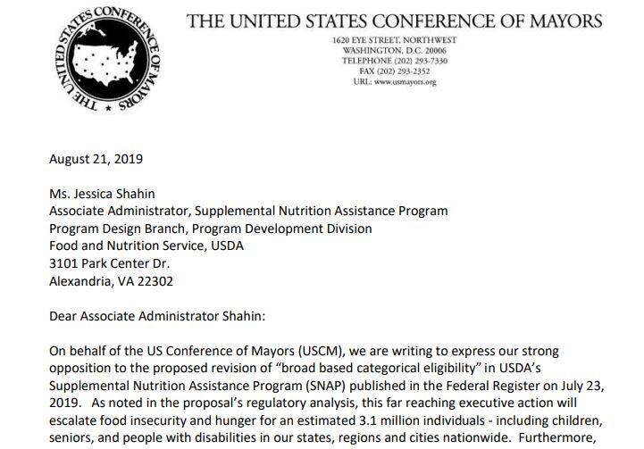 Today, Mayors from across the US signed a letter to @USDANutrition + the administration citing their opposition to the proposed SNAP eligibility revisions. Thank you @marty_walsh, @BOSfoodaccess for your advocacy, we couldnt agree more. ow.ly/69FD50vEQKj