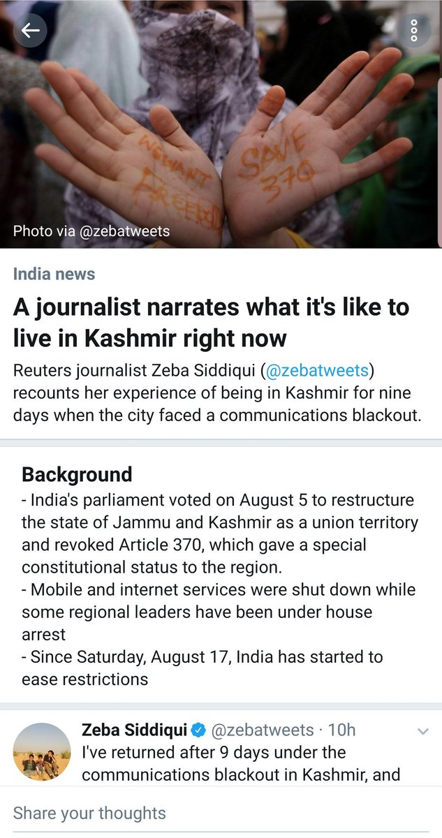 Why is this coming up as first thing on Twitter in US geography? This is NOT the real India news. Extremely biased and incorrect at so many levels. Indian Army- please take note. #KashmirWithModi #KashmirWelcomesChange @adgpi<br>http://pic.twitter.com/7p4OmDicwK