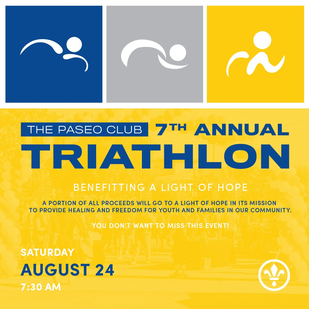 It's time for The Paseo Club's 7th Annual TRIATHLON!!  This Saturday August 24th, 7:30am to 10:30am. ADULT AND YOUTH TRIATHLONS! A Light Of Hope Fundraiser. http://bit.ly/2MpNpa5 #triathlon #adults #youth #ALightOfHope #ThePaseoClub #fitness #run #swim #cycle #SantaClaritapic.twitter.com/0eo32XbDoA