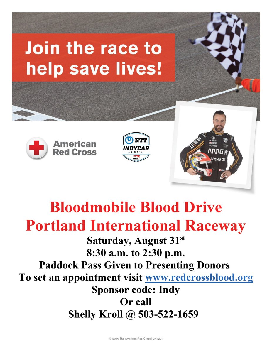 Headed to the @Portland_GP? Like FREE stuff? Join us at our blood drive on Saturday, August 31st, donate and receive a FREE paddock pass! This will be one of the last opportunities to donate at the races this year! Join me in the race to save lives! @INDYCAR // @RedCross