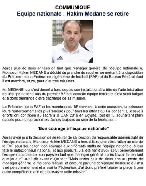 المناجير العام ل #المنتخب_الجزائري حكيم مدان يقدم استقالته من منصبه #محاربي_الصحراء