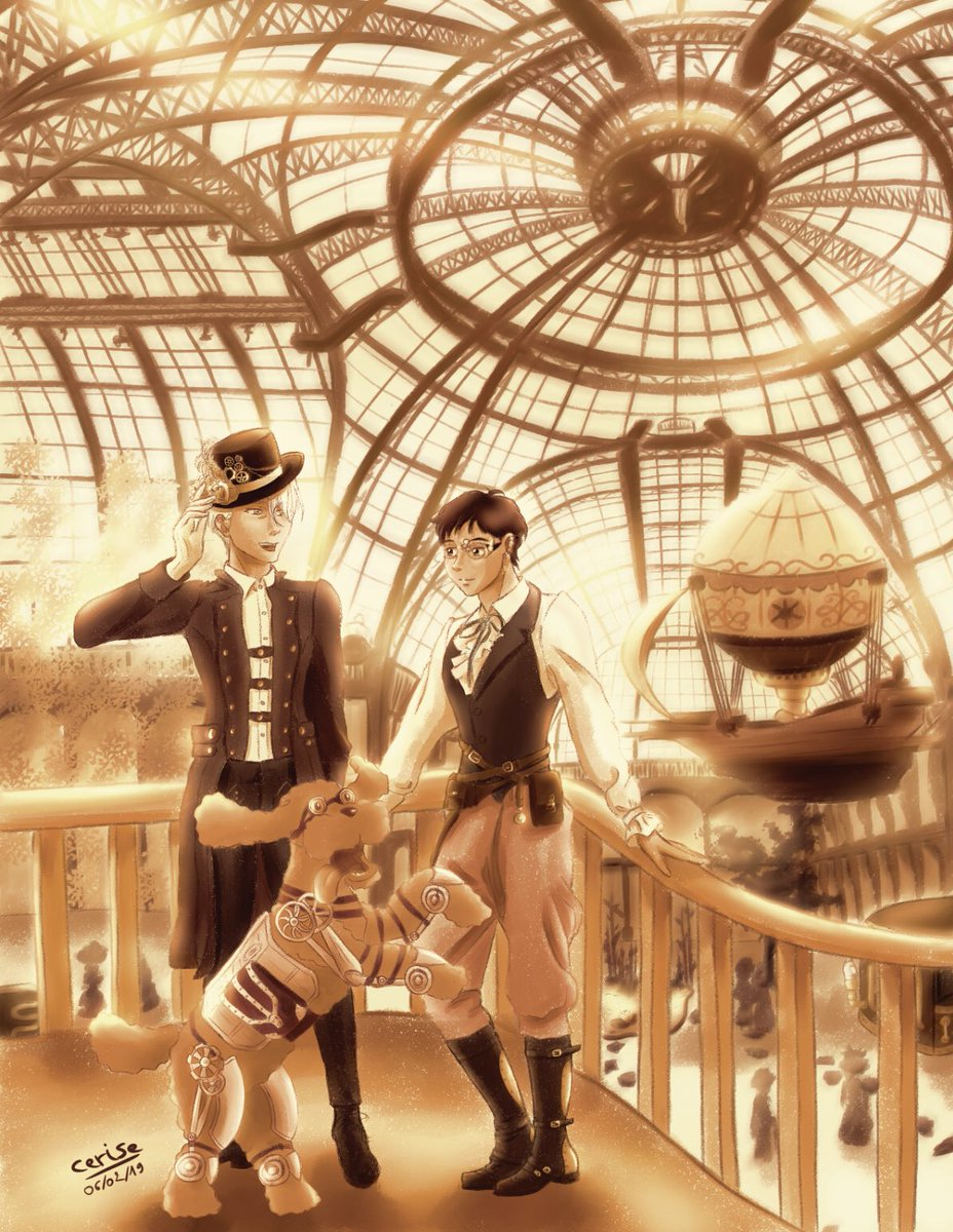 3rd art piece I made for the @IsekaiZine   I'm honestly super proud of this steampunk art, this is definitely the best background I've made so far! I used the glass dome of the Grand Palais in Paris as a reference  #yurionice #victuuri #steampunk