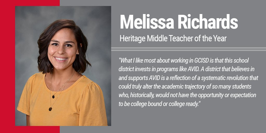 What does Melissa Richards, @HeritageBroncos Teacher of the Year, love most about working in GCISD?#WeAreGCISD