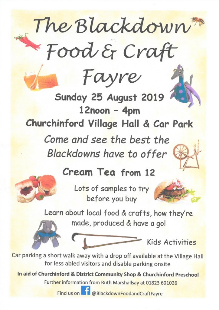 A lovely local event this Sunday, definitely one to add to the weekends must do's.  Pick up some great local food for a picnic then go off exploring the beautiful Blackdown Hills. Hope to see some of you there. #supportLocal #FoodFestival #Craft #Somerset #Blackdowns https://t.co/vImHF3hW5g