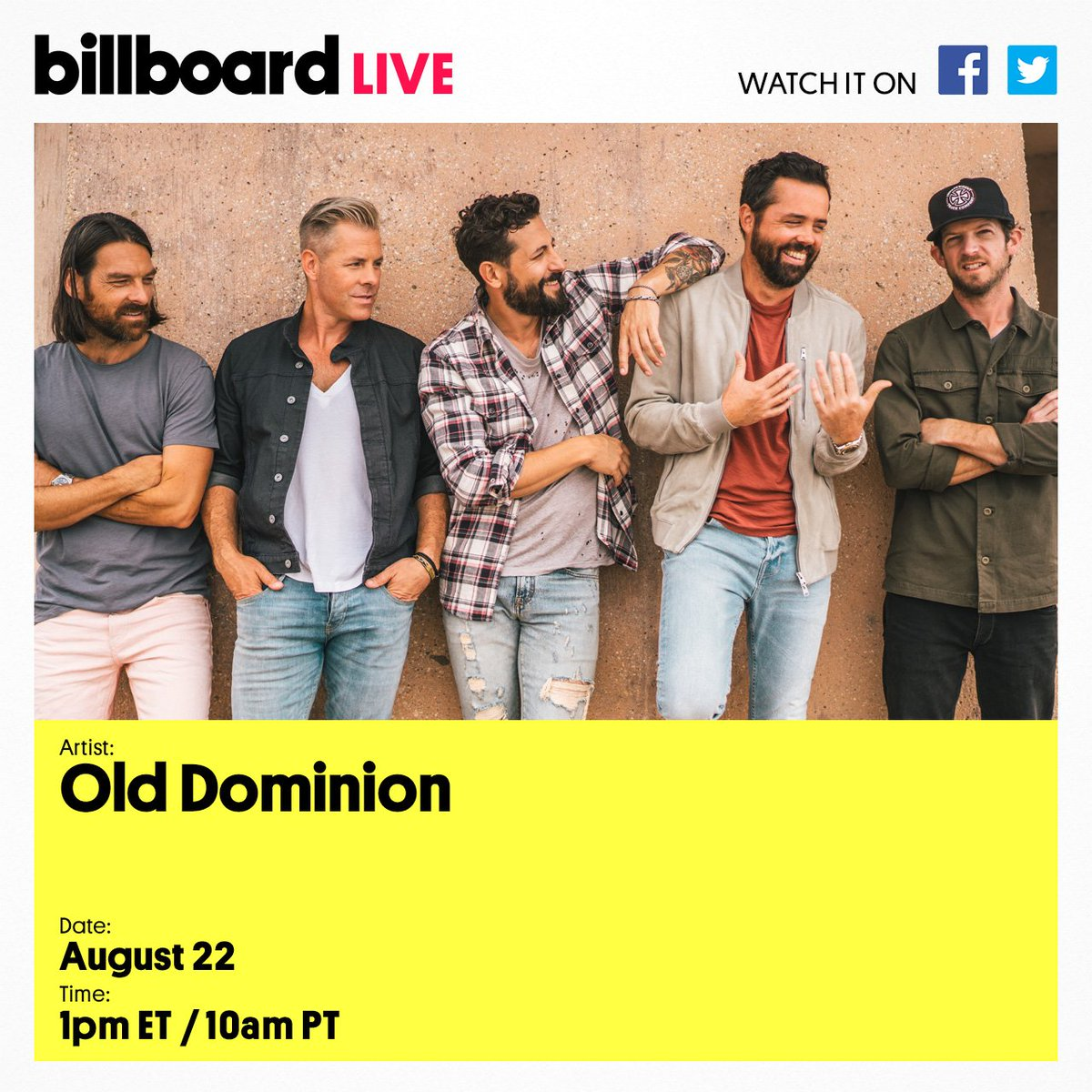 .@OldDominion is stopping by for a performance and Q&A on Billboard Live! Submit your questions using #BillboardLive and we might ask them on air. <br>http://pic.twitter.com/71HpXDrwB9