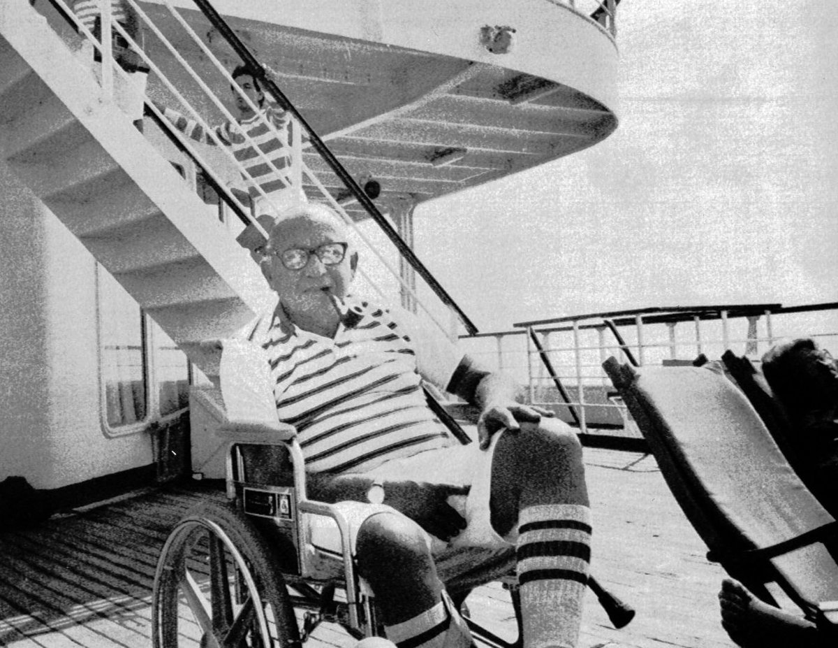 The American in the photo below is Jewish WWII vet, Leon Klinghoffer. He was murdered by Palestinian terrorists in October of 85 when they hijacked the Italian liner, MS Achille Lauro. He was shot in his wheelchair and then dumped overboard. Never forget and please RT!