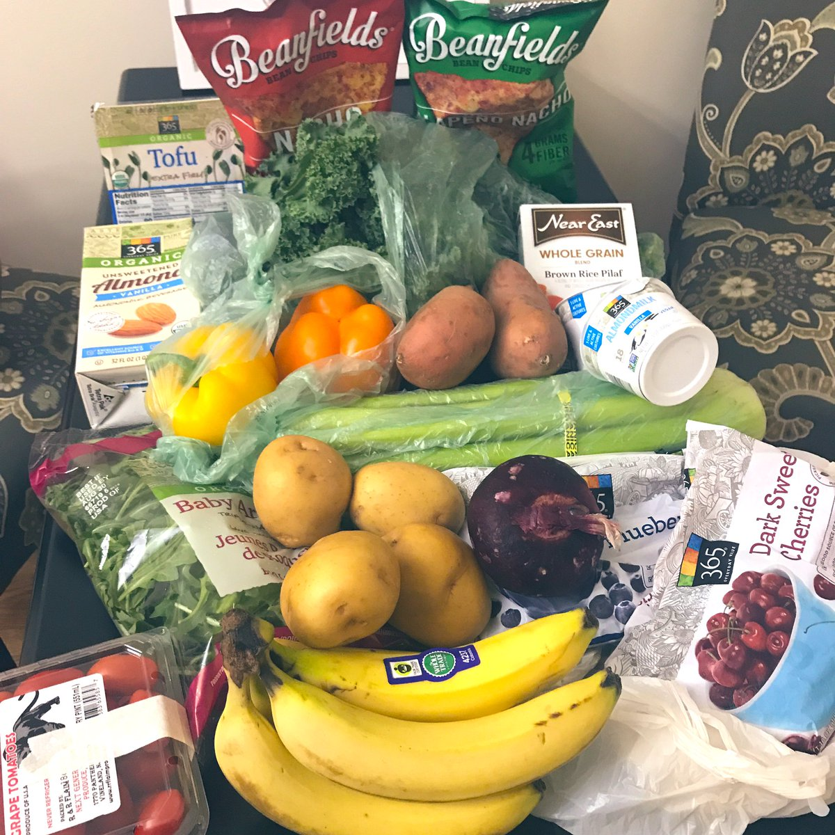 Grocery haul....this will hold me down at least a week & a half. Only spent $35 in Whole Foods cc @plantbasedvibes <br>http://pic.twitter.com/xHsxP6wviO