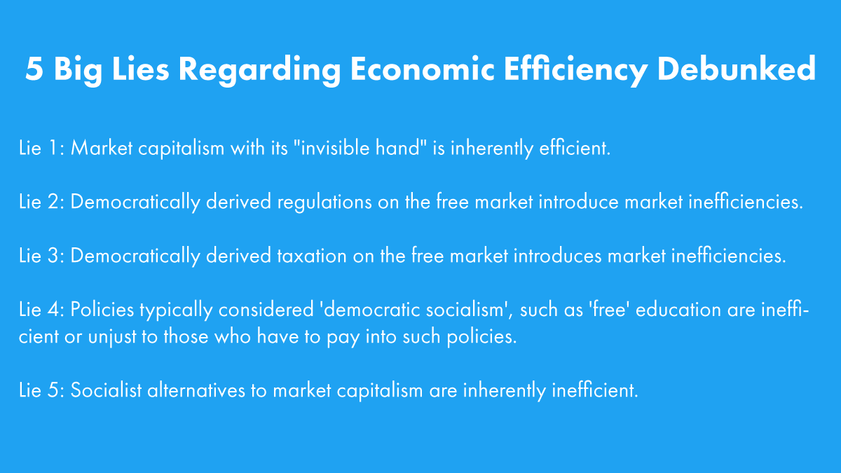 In one short thread, we will expose and debunk 5 of the biggest & most consequential lies regarding economic efficiency perpetuated by the right. 1/