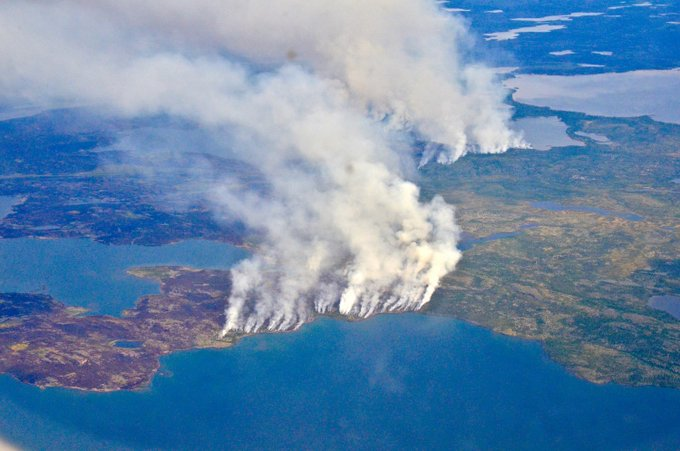 Smoke from fires burning in the Northwest Territories, seen from a plane