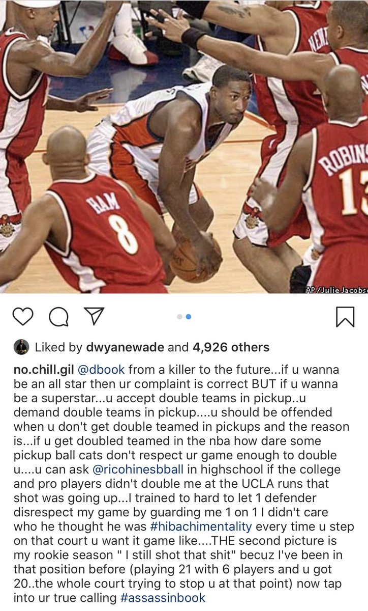 Gilbert Arenas tells Devin Booker he should demand double teams in pickup games if he wants to be a superstar <br>http://pic.twitter.com/rHiWWORIr6