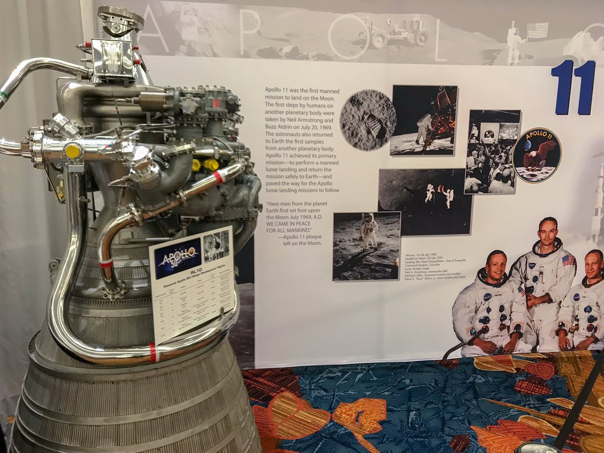 A beautiful commemoration to #Apollo. So wonderful that @NASA let these beauties be on display at #AIAAPropEnergy. And also a big thanks to those in the @LPTC_AIAA that made it happen. Pic 1: RL 10 Pic 2: RS 18, SE-8, R-4D, lunar module descent engine injector