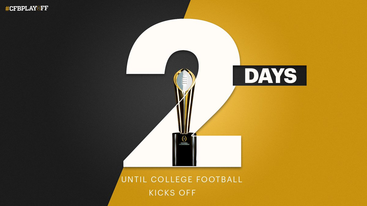 So close. So 🔜 Just ✌️ more days until the return of college football! #CFBPlayoff 🏈🏆