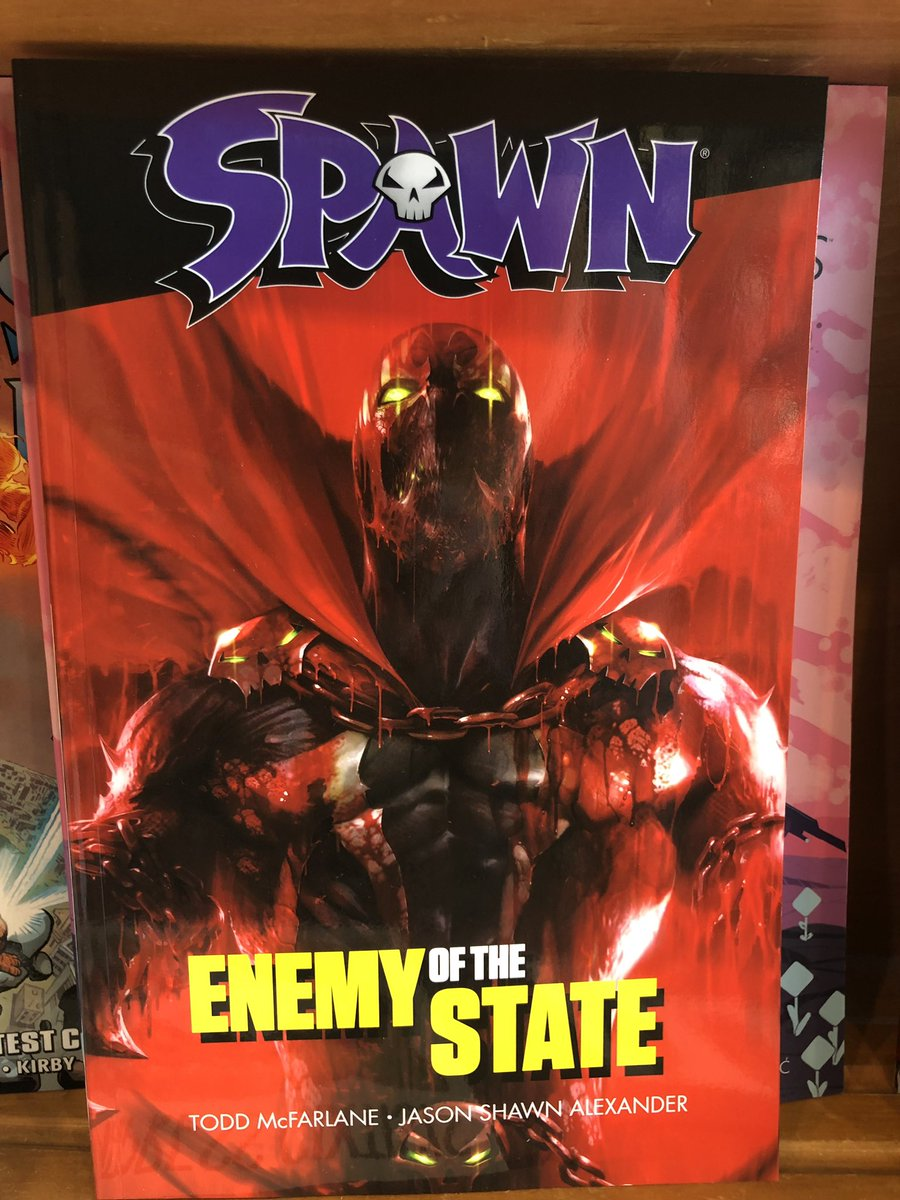 The SPAWN: Enemy of the State trade paperback collecting @jasonshawnalex's AMAZING 2nd story arc & the SPAWN Cover Gallery 1-100 with art from @Todd_McFarlane @GregCapullo @TonyDanielx2 @artofmmignola @thealexrossart are BOTH in stores TODAY!  @ImageComics #makecomics #readcomics <br>http://pic.twitter.com/HdbeBhS0lT