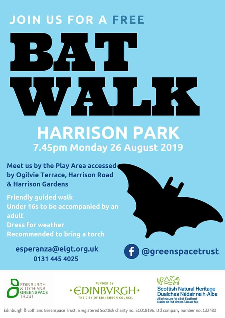 Am leading a free bat walk at Harrison Park in Edinburgh on Monday. Why not come along & find out about bats as well as hearing them on a bat detector! 🦇 @greenspacetrust @EdinOutdoors @Edinburgh_CC @nature_scot @_BCT_ @lothiansbats @labmammalgroup @Mammal_Society @EdinburghNats