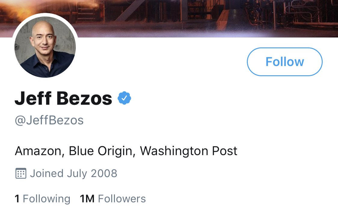 jeff bezos is still following his ex wife only but she unfollowed him. truly epic <br>http://pic.twitter.com/vKDz94HjJ1