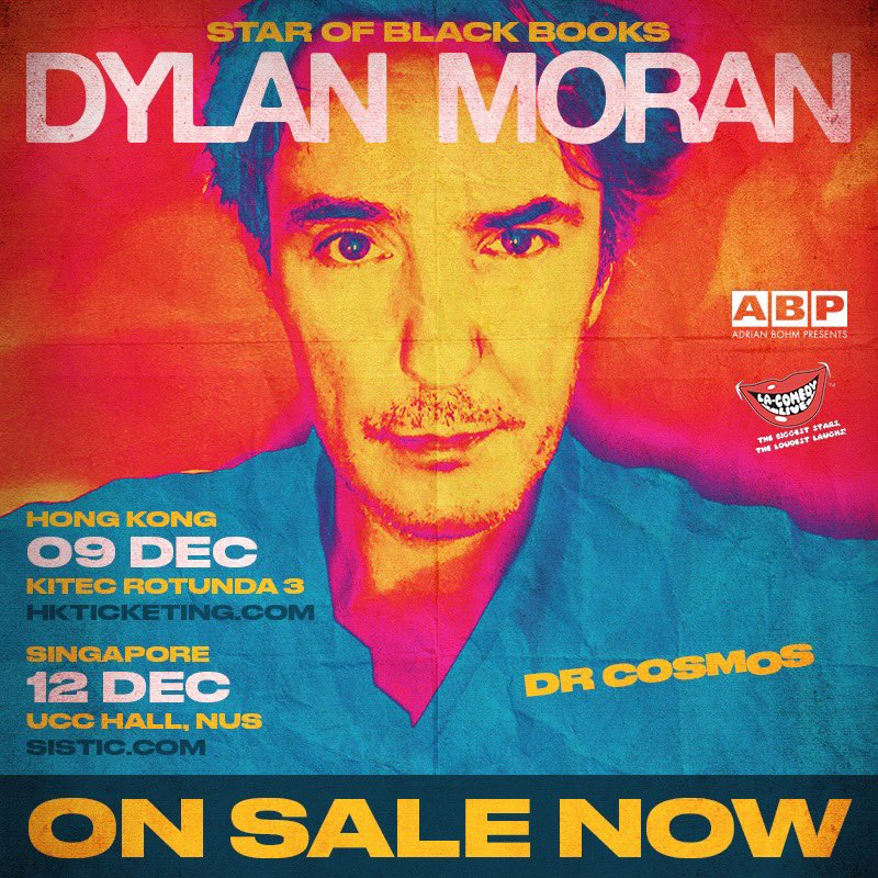Happy Thursday! 🎉 Tickets to @thedylanmorans upcoming Dr. Cosmos shows in Hong Kong and Singapore are ON SALE NOW! Cop yours via SISTIC (for Singapore) and HKTicketing (for Hong Kong) ✨ Dont miss out! 🤩 @bohmpresents @sisticsingapore @lacomedylive #DylanMoran #DrCosmos