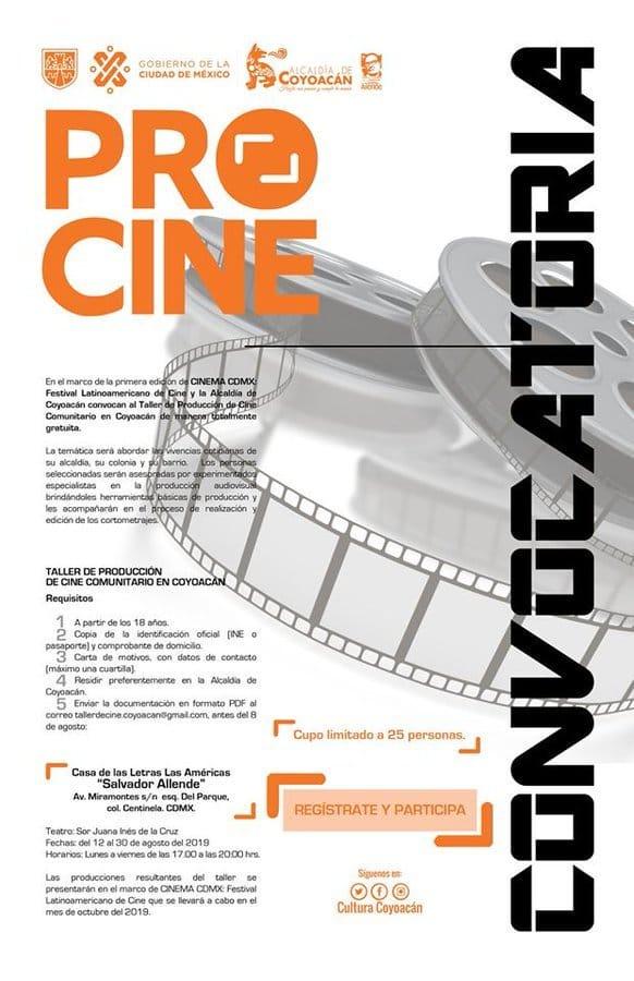 """¿Te gusta el séptimo arte? No te pierdas el taller gratuito de producción de cine comunitario. ¡Regístrate y participa!📍 Casa de Las Letras Las Américas """"Salvador Allende""""🗓 Del 12 al 30 de agosto"""